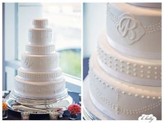 A perfect classic monogrammed wedding cake | Desserts by Lori