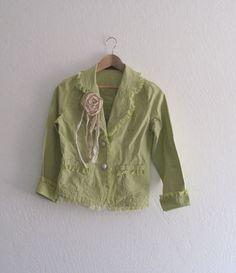 Shabby Chic Funky Jacket/ Eco Fashion Green Yellow by KheGreen