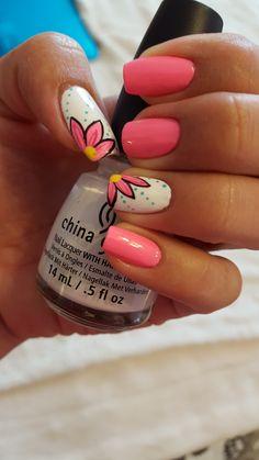 Hot pink nails!