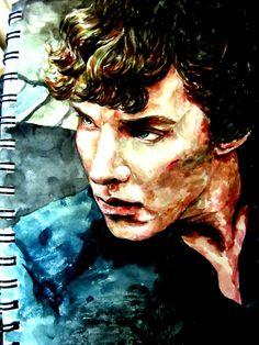 Sherlock watercolor by ~malgang on deviantART