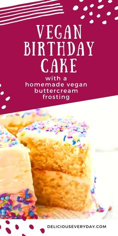 This decadent Vegan Birthday Cake is perfect for any special occasion. Finish it off with a homemade vegan buttercream frosting, and you have one perfect treat. Healthy Vegan Desserts, Vegan Dessert Recipes, Healthy Cooking, Vegan Carrot Cakes, Vegan Cake, Vegan Buttercream Frosting, Chocolate And Vanilla Cake, Vegan Birthday Cake, Dairy Free Cream