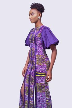 Purple African Print Ankara Long Dress with Puffy Sleeves and high slits African Attire, African Dress, Long Dress With Slit, Elegant Summer Dresses, Ankara Dress, Sexy Outfits, Dress Patterns, African Fashion, African Prints