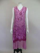 Stunning original 1920s pink devore velvet flapper dress - UK 8