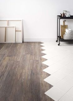 Floors make a world of a difference in the interiors of your home. Roomhints helps you to find inspiration and ideas for the perfect flooring for your home. Floor and decor. We help you decide. Tile To Wood Transition, Transition Flooring, Küchen Design, Floor Design, House Design, Wood Tile Floors, Kitchen Flooring, Floors And More, New Wall