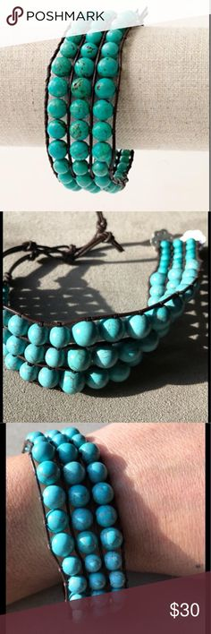 Stella & Dot Tulum Turquoise Beaded Bracelet Three rows of beads bound in leather.  Double clasp has 3 holes for adjustability.  Measures 8 inches. Stella & Dot Jewelry Bracelets