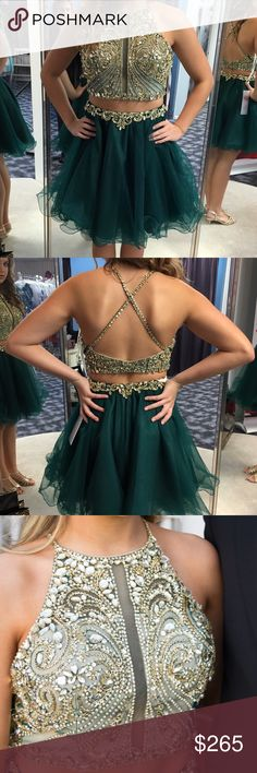 Jovani emerald green formal dress. Size 4 Size 4 with small alteration. (Straps shortened 1/2 inch) top closes under the arm. No alterations to the skirt. The top is made up of emerald sheer and stone. Several layers of acrylic under the skirt, but not altered Jovani Dresses Prom