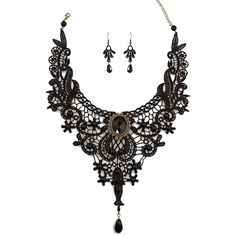 Charm.L Grace Black Lace Gothic Lolita Pendant Choker Necklace... ($5.99) ❤ liked on Polyvore featuring jewelry, charm jewelry, gothic pendant, gothic jewelry, black jet jewelry and black pendant