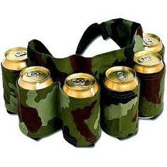 Redneck 6 Pack Beer & Soda Can Holster Belt - Camo  Perfect Gift for the Men in Your Life!