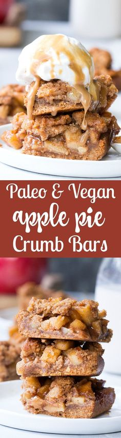 These Paleo apple pie bars have a delicious almond butter crust and crumb top and perfect gooey sweet apple pie filling!  They're a fun fall dessert to make and eat with kids, gluten-free, dairy-free, paleo and vegan.