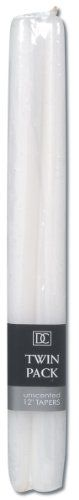 Taper Candle - Unscented - White - 12 inches - 2 pieces