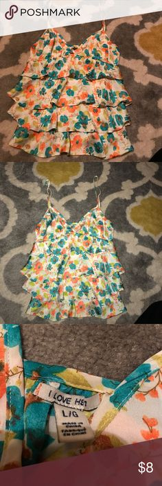 Forever 21 floral silky tank Silky spaghetti strap tank with ruffles on front, beautiful blue and pink flowers with green leaves, bought at Forever 21, size is large but fits small, worn once i love h81 Tops Tank Tops
