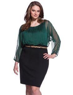 Eloquii by The Limited Plus Size Green Chiffon Long Sleeve Dress Size 20W | eBay