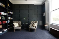 A London Home Full of Light// dark walls, painted panneling