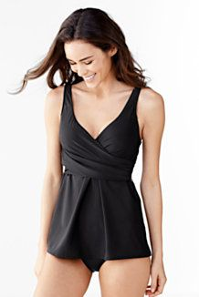 Women's Tank Swimdress Dresskini Tankini Top Tunic Top Flatten Tummy Full Body Slimming Enhance Bust Conceal Thighs Create Curves Camouflaging Swimsuits from Lands' End