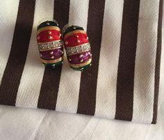 Vintage Joan Rivers Gold Tone Enamel Studded Crystal Dome Pierced Earrings | eBay