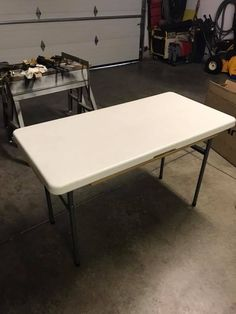 Here's how to turn a plastic folding table into extra kitchen countertop space
