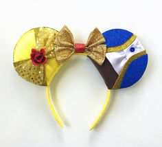 Beauty and the beast ears belle ears belle by toneverneverland diy disney. Diy Disney Ears, Disney Mickey Ears, Disney Bows, Disney Diy, Disney Crafts, Disney Outfits, Diy Mickey Mouse Ears, Micky Ears, Disney Stuff