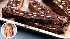 Chocolate Pistachio Cantucci (Biscotti) is on the menu in Chef Anna Olson's amazing kitchen, and she is going to teach you how to make this delicious recipe . Chocolate Biscotti Recipe, Chocolate Torte, Best Chocolate, How To Make Chocolate, Melting Chocolate, Anna Olson, Pistachio Biscotti, Square Cookies, Cake Hacks