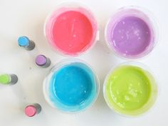 Edible Homemade Fingerpaint by momtastic: Made with flour, sugar, salt, and food coloring this would be OK for the toddlers. #Fingerpaint #KIds #Edible_Fingerpaint