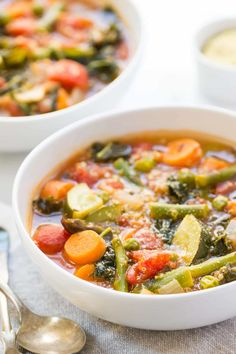 The BEST vegetable minestrone made fresh spring veggies and protein-rich quinoa!
