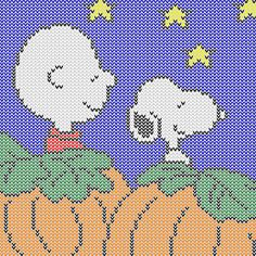 Charlie Brown and Snoopy waiting for The Great Pumpkin Plastic Canvas Ornaments, Plastic Canvas Crafts, Plastic Canvas Patterns, Cross Stitching, Cross Stitch Embroidery, Cross Stitch Patterns, Halloween Patterns, Halloween Prints, Perler Bead Emoji