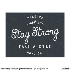 Retro Stay Strong Hipster Outdoor Badge Postcard @zazzle #junkydotcom Aug 17 2016