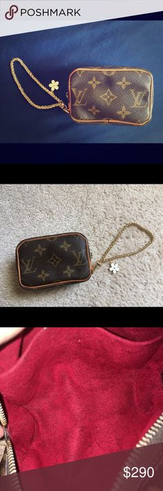 101474b486a44 Leather have a scuffs but all puping intact. Has a vintage odor on interior  when sniffed it. NON lv chain wrislets is included.