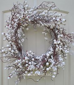 Winter wreath, holiday wreath, Christmas wreaths, snow wreath, front door wreaths Diameter = o Front Door Colors, Front Door Decor, Wreaths For Front Door, Door Wreaths, Front Doors, Wreath Bows, Wall Colors, Snowflake Wreath, Holiday Wreaths