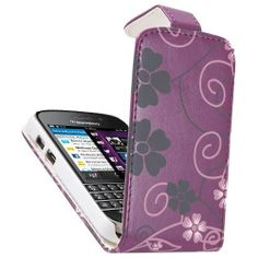 BlackBerry Q10 Purple Flip Case - Pink & Grey Floral