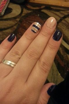Navy and nude stripes with silver striping tape.