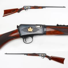 Engraved Winchester 63 Rifle - This semi-auto rifle was given by an individual who spent nearly equal time on either side of our northern border. The gold inlaid maple leaves on this rifle's receiver, representing his Canadian period, really help set this piece off on exhibit. About 175,000 Model 63s were made by Winchester from 1933 to 1958.  A second run for this model was offered from 1997 to 1998 with most of this later production being engraved. NRA National Firearms Museum in Fairfax…