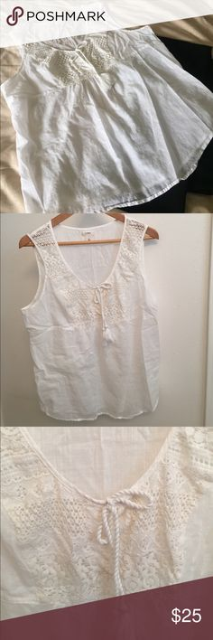 Caslon white lace tank top Beautiful white lace Caslon tank top. Decorative tie in the front with lace.  100% cotton. Perfect for Spring or summer weather!  NWOT Caslon Tops Tank Tops