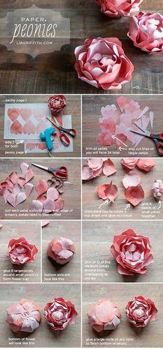 Como hacer rosas de papel cartulina para decoracion