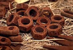 Chocolate treats that look like rusty nuts and tools -- great for Father's Day