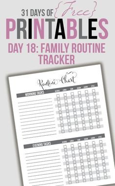 Family Routine Tracker Printable