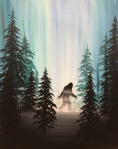 """Paint Nite painting """"Reigning Hide and Seek World Campion"""" by artist Dean Sherman from Liberty Lake, WA, USA. Yeti Bigfoot, Bigfoot Sasquatch, Fantasy Creatures, Mythical Creatures, Bigfoot Pictures, Pie Grande, Finding Bigfoot, Sunset Background, Aliens And Ufos"""