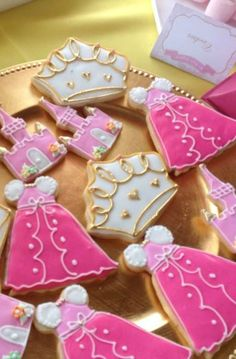 Pink princess birthday party cookies!  See more party planning ideas at CatchMyParty.com!