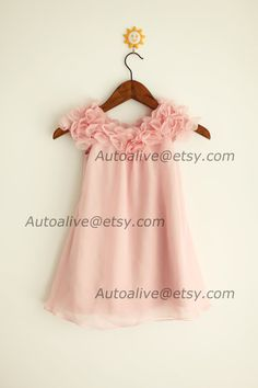 Blush Pink Chiffon Flower Girl Dress Infant Toddler by autoalive  COMES IN IVORY.