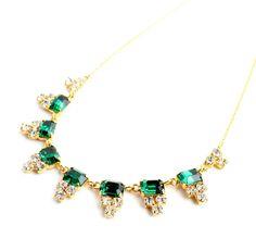 Vintage Art Deco Emerald Green Rhinestone by MaejeanVINTAGE, $50.00