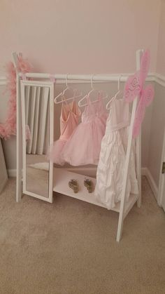 Dress Up Wardrobe Rack W Mirror White Toddlers