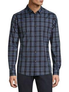 THEORY Zack Plaid Domi Shirt. #theory #cloth #shirt
