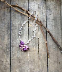 Lavender Pink Crochet 3 D Bellflowers Oya Necklace by ReddApple, $32.00