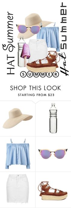 """""""This is what I'd wearing on a hot summer day under a beautiful sun hat!"""" by craftingwithtopaz101 ❤ liked on Polyvore featuring Eric Javits, Dot & Bo, Sandy Liang, Fendi, Topshop, Stuart Weitzman and summerhat"""