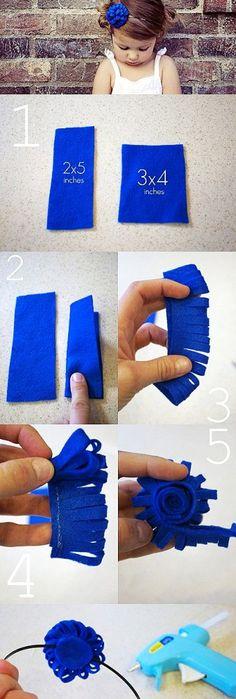 diy blue felt Flower headband tutorial - felt flowers crafts - Sweet DIY Baby Headbands with Felt Flowers for Your Baby! by xuxuxuxu