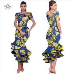 BRW 2017 New African Wax Print Dresses for Women Bazin Riche Cotton Party Dress Dashiki Sexy African Fashion Clothing African Dresses For Women, African Attire, African Outfits, African Clothes, African Wear, African Style, Ankara Gowns, Ankara Dress, African American Fashion