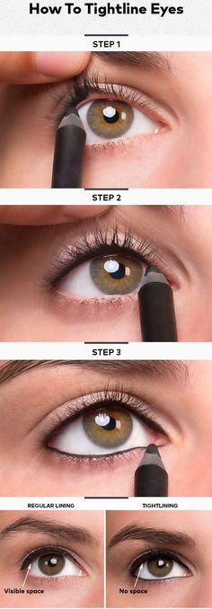 Tightlining your #eyes is a great way to make lashes appear longer + fuller. #Eyeliner #MakeupTransformation #Makeup