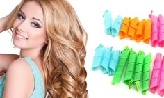 Set with 18 curlers and curling sticks creates curls in 10-20 minutes without heat; ideal for all hair types and lengths