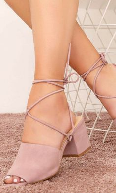 09124180b9d Paddington Lace Up Block Heeled Mules in Pink