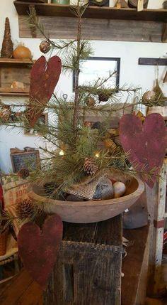 Valentine Hearts, Valentines, Charlie Brown Tree, Feather Tree, Primitive Decor, Valentine Decorations, Xmas, Christmas, Trees