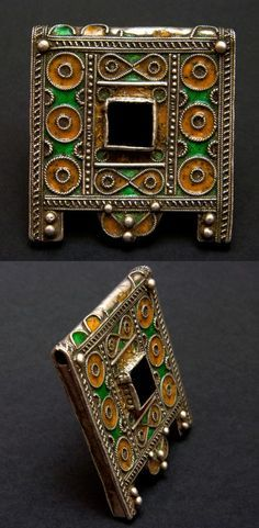 Morocco | Old Berber silver and enamel talisman  ~ hirz ~ pendant from the area of Tiznit-Tafraoute in Western Anti Atlas region | 1st half of the 20th century | 360€